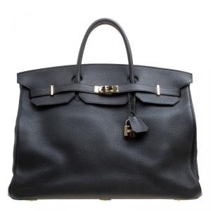 Hermes Black Clemence Leather Gold Hardware Birkin 50 Bag