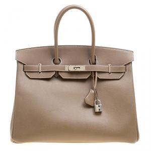 Hermes Taupe Epsom Leather Palladium Hardware Birkin 35 Bag