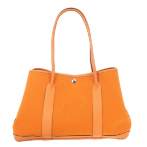 Hermes Canvas Leather Garden Party Tote Bag