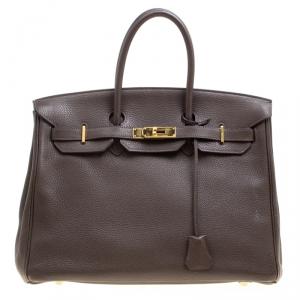 Hermes Cacao Togo Leather Gold Hardware Birkin 35 Bag