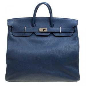 Hermes Blue De Presse Clemence Leather Palladium Hardware HAC Birkin 50 Bag