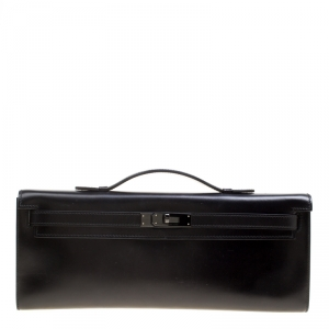 Hermes Black Swift Leather Limited Edition SO Black Kelly Cut Clutch