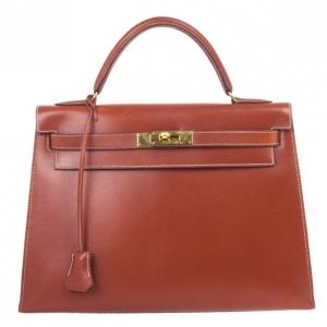 Hermes Fauve Tadelakt Red Leather Kelly 32