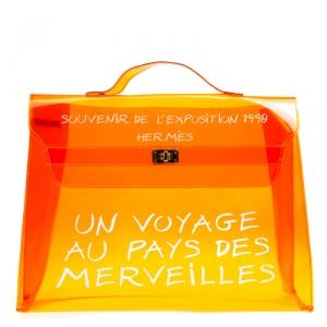 حقيبة هيرمس كيلي سوفينير فينيل شفافه برتقالية