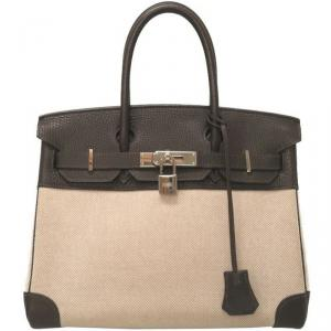 Hermes Two Tone Toile Canvas and Taurillon Clemence Leather Palladium Hardware Birkin 30 Bag