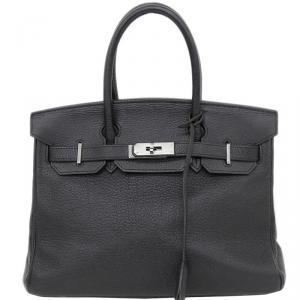 Hermes Noir Togo Leather Palladium Hardware Birkin 30 Bag
