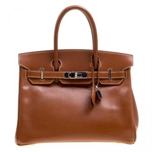 Hermes Havane Courchevel Leather Palladium Hardware Birkin 30 Bag