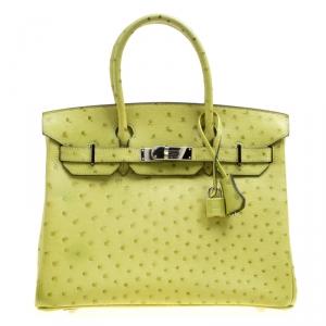 Hermes Olive Green Ostrich Palladium Hardware Birkin 30 Bag