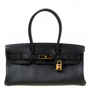Hermes Black Clemence Leather Gold Hardware Shoulder Birkin 42 Bag
