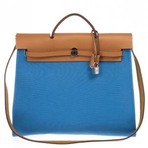 Hermes Celeste Canvas and Leather Herbag Zip 39 Bag