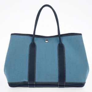 Hermes Blue Canvas and Leather Garden Party TPM Tote Bag