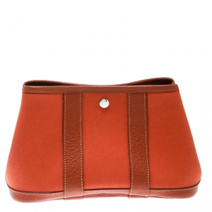 Hermes Fauve Toile Officier and Buffalo Leather Garden Party Pochette