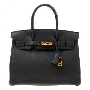 Hermes Black Togo Leather Gold Hardware Birkin 30 Bag