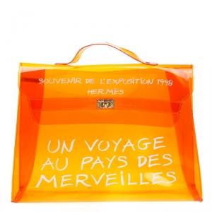 حقيبة هيرمس سوفونير كيلي فينيل برتقالية شفافة