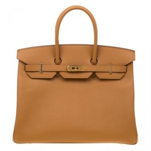 Hermes Jaune d'or Epsom Leather Gold Hardware Birkin 35 Bag