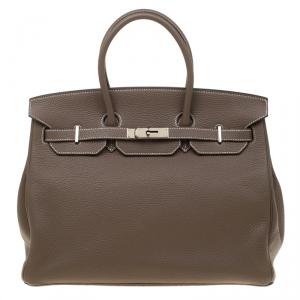 Hermes Etoupe Grey Togo Leather Palladium Hardware Birkin 35 Bag