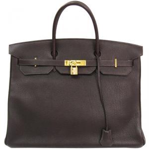 Hermes Ebene Togo Leather Gold Hardware Birkin 40 Bag