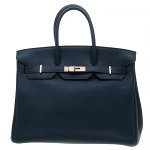 Hermes Bleu De Malte Leather Palladium Hardware Birkin 35 Bag