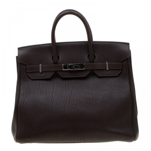 Hermes Chocolate Fjord Leather Palladium Hardware HAC Birkin 32 Bag