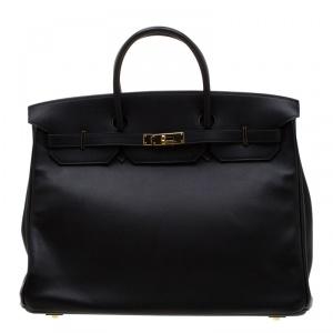 Hermes Black Swift Leather Gold Hardware Birkin 40 Bag