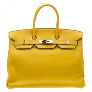 Hermes Cumin Chevre Mysore Leather Palladium Hardware Birkin 35 Bag