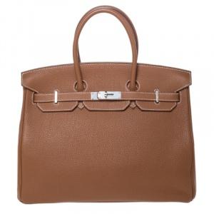 Hermes Gold Togo Leather Palladium Hardware Birkin 35 Bag