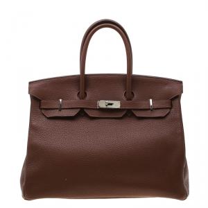 Hermes Brown India Clemence Leather Palladium Hardware Birkin 35 Bag