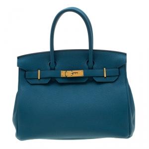 Hermes Bleu de Galice Togo Leather Gold Hardware Birkin 30 Bag