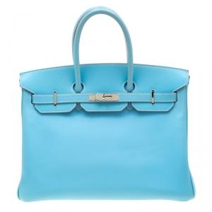 Hermes Celeste Epsom Leather Palladium Hardware Birkin 35 Bag