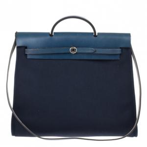 Hermes Herbag Midnight Blue MM Convertible Satchel