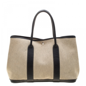 Hermes Black/Off White  Canvas and Leather Garden Party MM Tote Bag