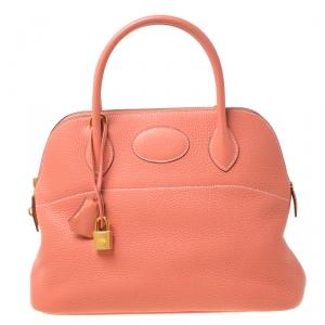 Hermes Rose Candy Togo Leather Bolide 31 Bag