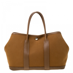 Hermes Brown Canvas and Leather Garden Party TPM Bag