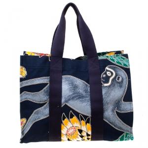Hermes Multicolor Printed Canvas Maxi Savana Dance Beach Tote