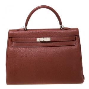 Hermes Sienne Togo Leather Palladium Hardware Kelly Retourne 35 Bag