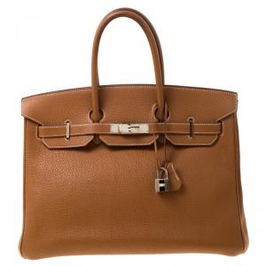 Hermes Brown Clemence Leather Palladium Hardware Birkin 35 Bag