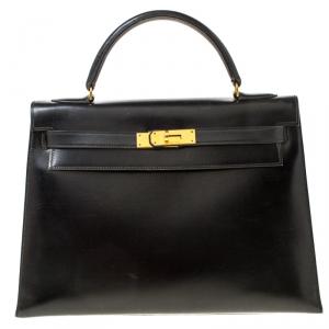 Hermes Black Box Calf Leather Gold Hardware Kelly Sellier 32 Bag