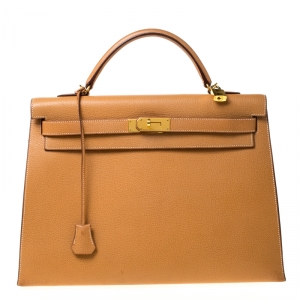 Hermes Natural Sable Vache Liegee Leather Gold Hardware Kelly Sellier 40 Bag