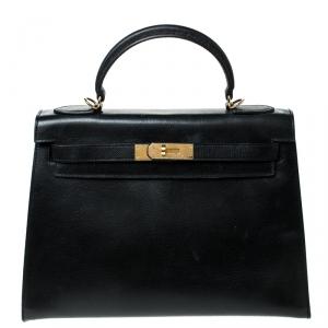 Hermes Black Epsom Leather Gold Hardware Kelly Sellier 32 Bag