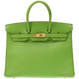Hermes Apple Green Veau Gulliver Leather Gold Hardware Birkin 35 Bag
