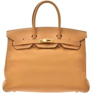 Hermes Saffron Leather Gold Hardware Birkin 35 Bag