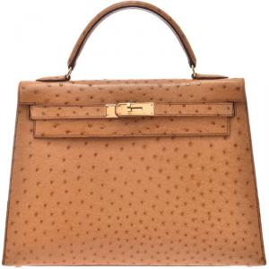 Hermes Chestnut Ostrich Gold Hardware Kelly Sellier 32 Bag