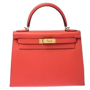 Hermes Rose Jaipur Epsom Leather Gold Hardware Kelly Sellier 28 Bag