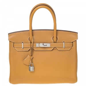 Hermes Moutarde Clemence Leather Palladium Hardware Birkin 25 Bag