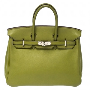 Hermes Apple Green Swift Leather Palladium Plated Birkin 25 Bag