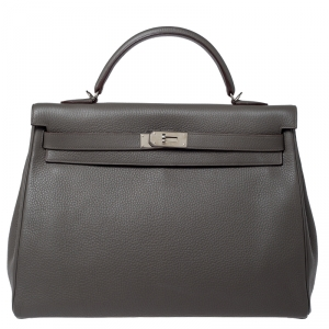 Hermes Etain Clemence Leather Palladium Hardware Kelly Retourne 40 Bag