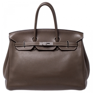 Hermes Taupe Grey Clemence Leather Palladium Hardware Birkin 35 Bag