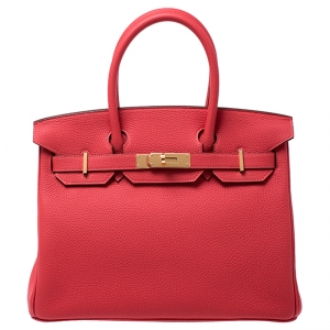 Hermes Rouge Pivoine Togo Leather Gold Hardware Birkin 30 Bag