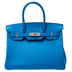 Hermès Bleu Zanzibar Epsom Leather Palladium Hardware Birkin 30 Bag