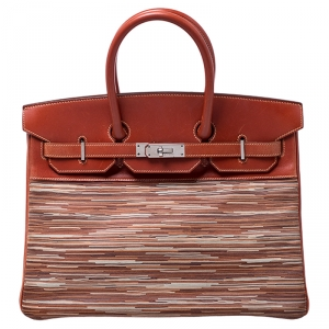 Birkin Brique Vibrato and Calf Box Leather Palladium Hardware Birkin 35 Bag